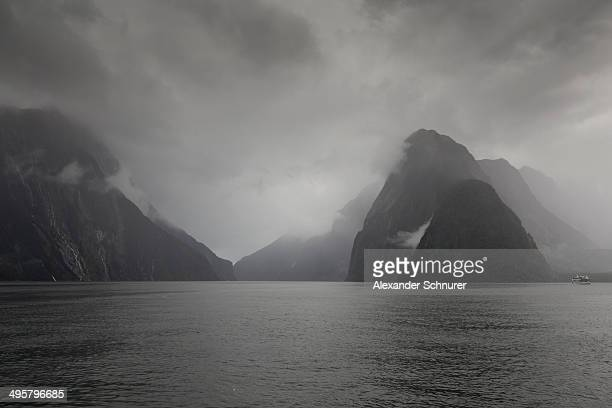 Clouds at Milford Sound, Fiordland National Park, Southland Region, New Zealand
