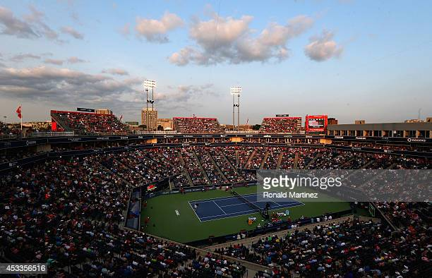 Clouds at sunset during play between Milos Raonic of Canada and Feliciano Lopez of Spain during Rogers Cup at Rexall Centre at York University on...