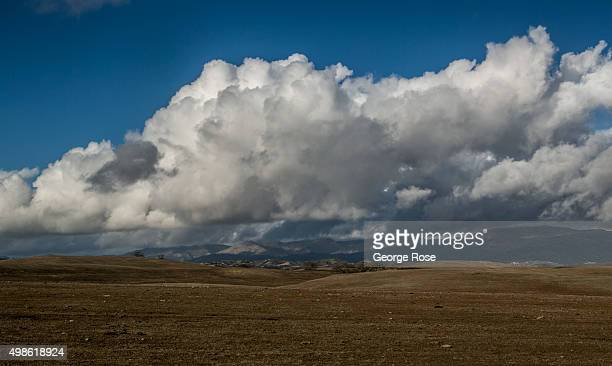 Clouds build along Armour Ranch Road as it cuts through the heart of Santa Ynez Valley pasture land on November 15 in Santa Ynez California Because...