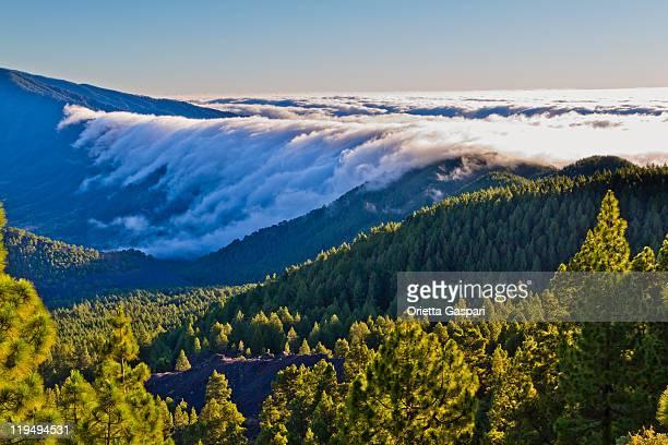 Wolken Cascade bei Sonnenaufgang, La Palma