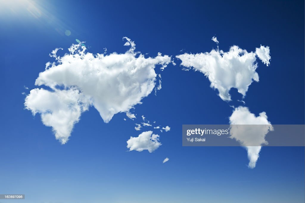 clouds forming heart world map in sky : Stock Photo