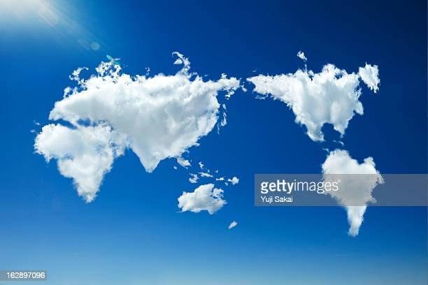 clouds forming heart world map in sky
