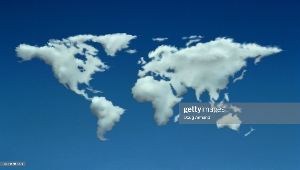 Clouds forming shapes of continents on sky blue background (Composite) : Stock Photo
