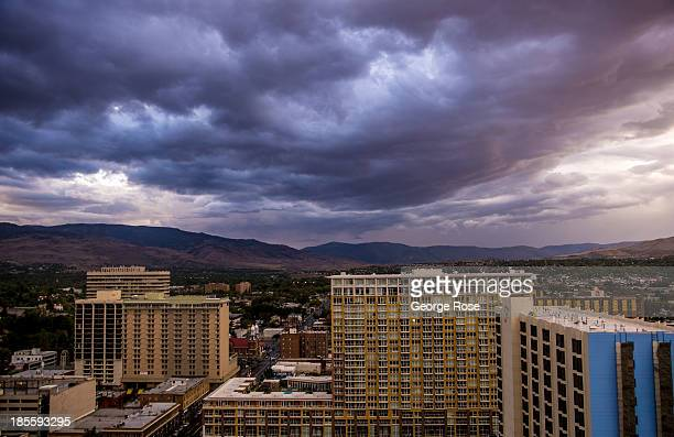 Clouds gather over the downtown skyline on September 12 in Reno Nevada Reno located in the northwest corner of Nevada continues to struggle from the...