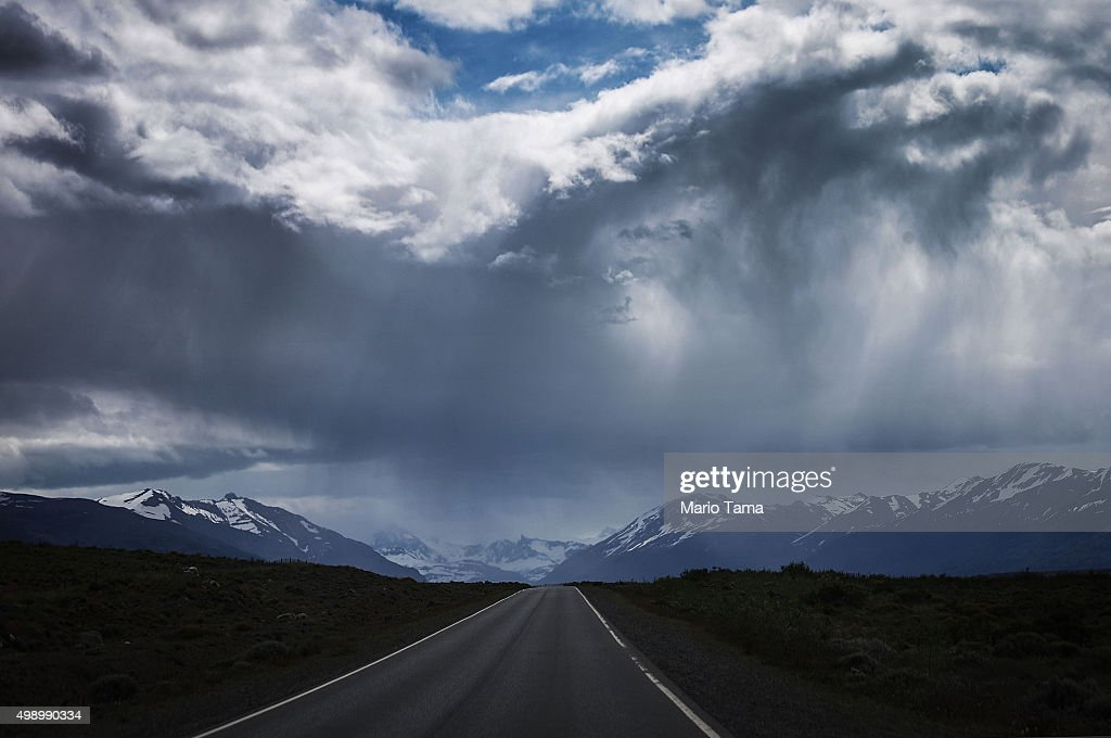 Clouds hang over Los Glaciares National Park, part of the Southern Patagonian Ice Field, the third largest ice field in the world, on November 26, 2015 in Santa Cruz Province, Argentina. The majority of the almost 50 large glaciers in Los Glaciares National Park have been retreating during the past fifty years due to warming temperatures, according to the European Space Agency (ESA). The United States Geological Survey (USGS) reports that over 68 percent of the world's freshwater supplies are locked in ice caps and glaciers. The United Nations climate change conference begins November 30 in Paris.