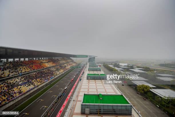 Clouds hang over the circuit during practice for the Formula One Grand Prix of China at Shanghai International Circuit on April 7 2017 in Shanghai...