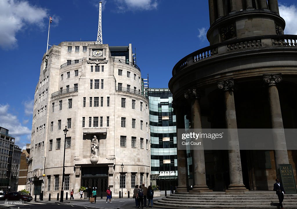 Clouds hover over Broadcasting House the headquarters of the BBC on July 25 2015 in London England The main Art Decostyle building of the British...