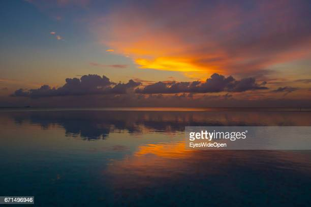 Clouds in a Colourful Sunset at Coco Bodu Hiti NorthMaleAtoll on February 26 2017 in Male Maldives