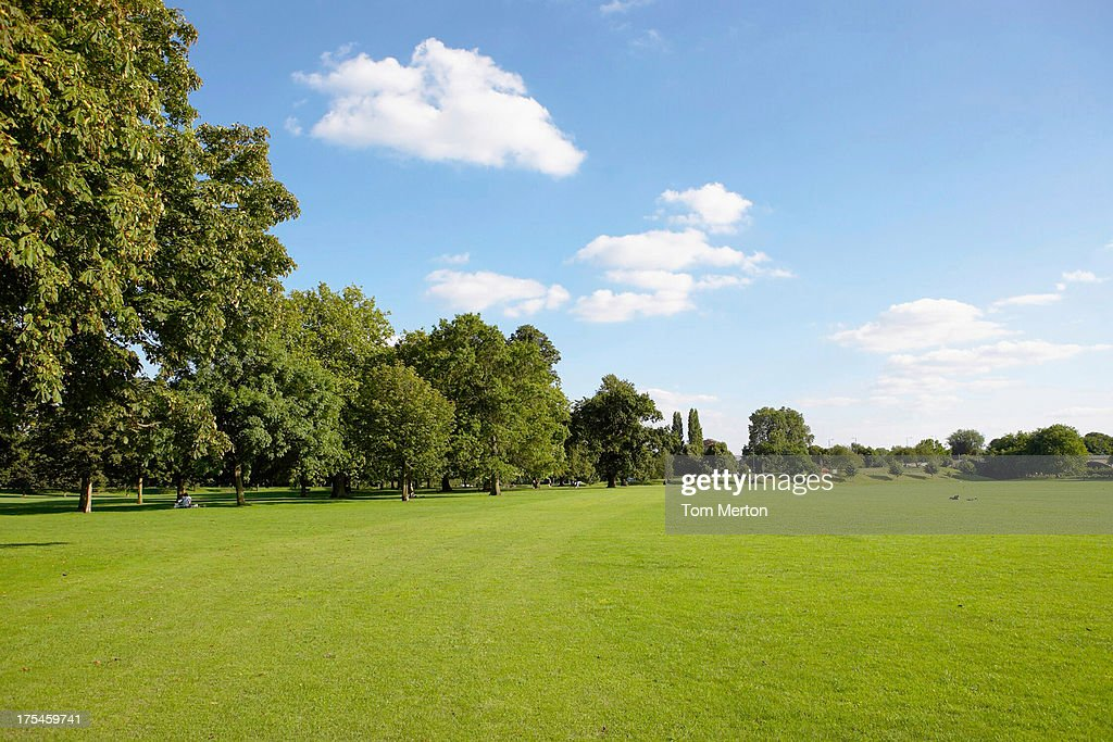 Clouds in blue sky over field : Stock Photo