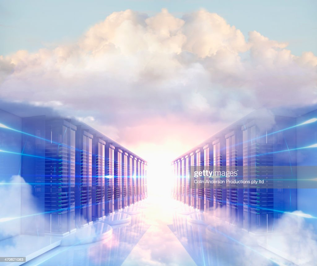 Clouds in server room : Stock Photo