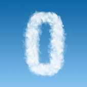 number zero made of white clouds on blue background, not render. Concept idea
