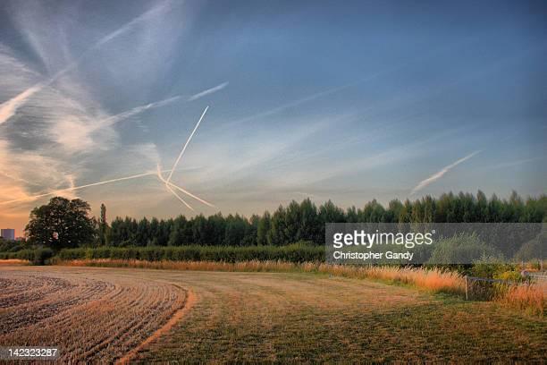 Clouds in sky above field