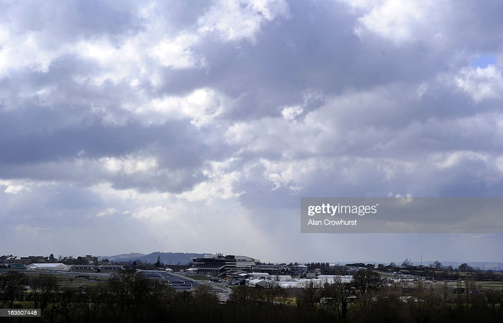 Clouds loom at Cheltenham racecourse on March 11, 2013 in Cheltenham, England.