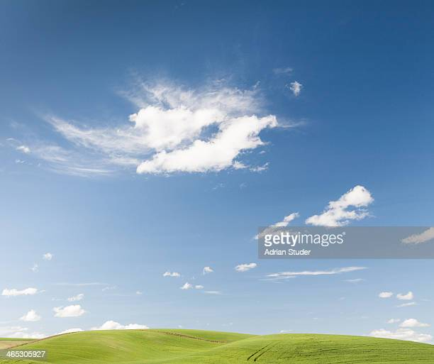Clouds over green hills