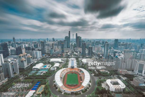 Clouds over modern cityscape, Guangzhou, Guangdong, China