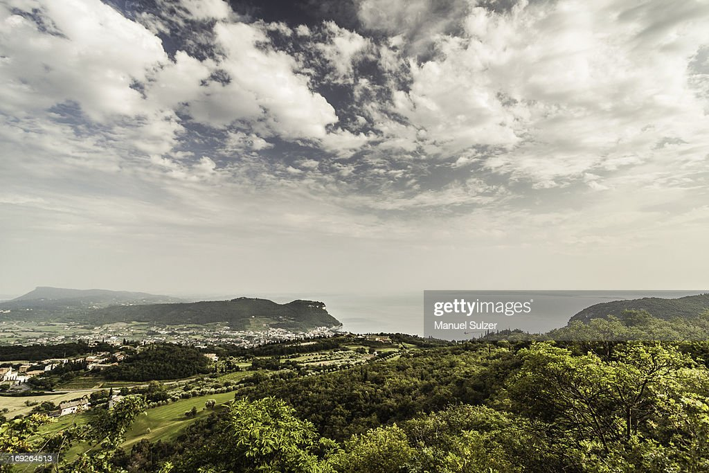 Clouds over rural landscape : Stock Photo