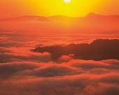 Clouds over sea at sunrise,  Tsubetsu-machi,  Hokkaido,  Japan