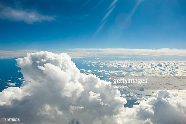 Clouds over the ocean in a blue sky