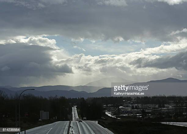 Clouds over Trans-Canada Highway, Fraser Valley, British Columbia, Canada, Winter