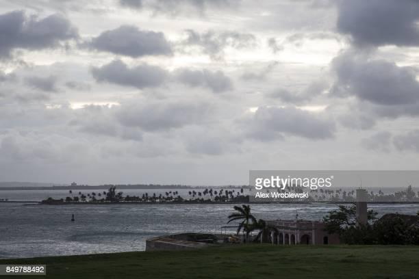 Clouds pass over the Caribbean Sea as Hurricane Maria approaches on September 19 2017 in San Juan Puerto Rico Puerto Rico Gov Ricardo Rossello is...