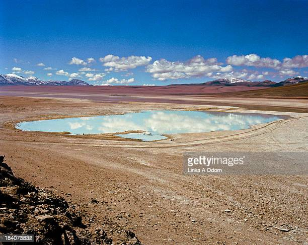 Clouds reflect in a small desert lake in Bolivia