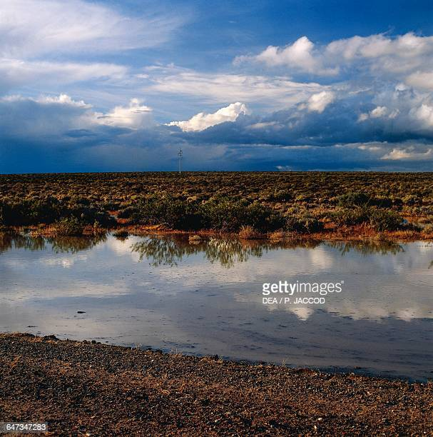 Clouds reflected in a pool of water on a semidesert steppe after a storm between Uzcudun and Las Chapas Chubut province Patagonia Argentina
