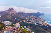 Clouds rolling off Table Mountain to Camps Bay