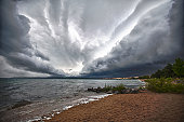 Clouds rolling over Grand Traverse bay