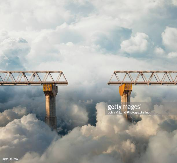 Clouds surrounding gap in bridge