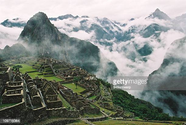 Clouds Surrounding Machu Picchu and Inca Ruins