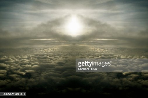 Cloudscape over Atlantic Ocean, aerial view : Stock Photo