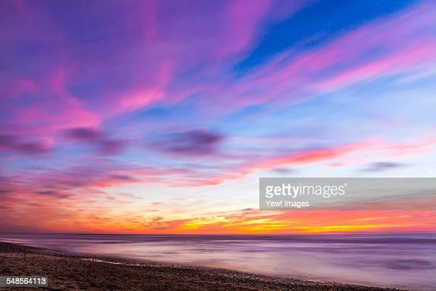 Cloudy colourful sky at sunset, Encinitas, California, USA