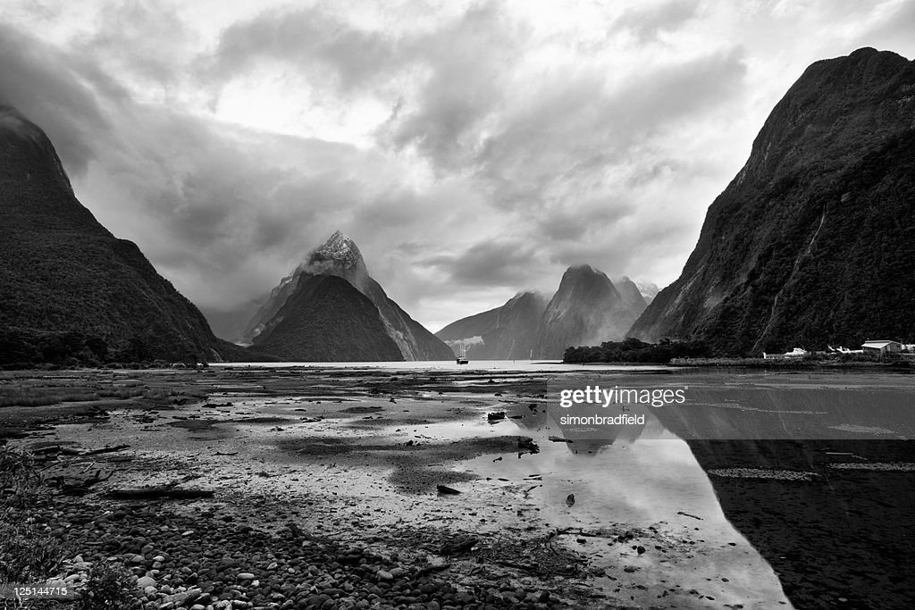 Cloudy Day At Milford Sound : Stock Photo