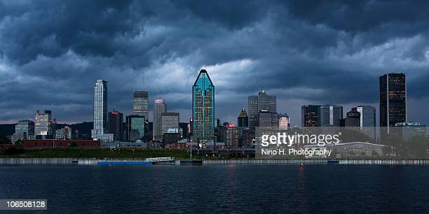 Cloudy evening over Montreal skyline