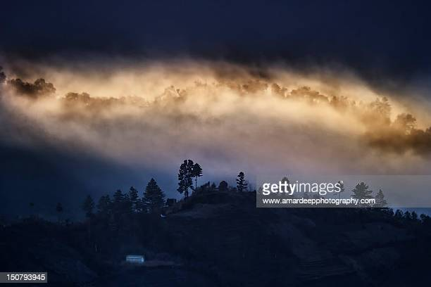 Cloudy landscape of mountains