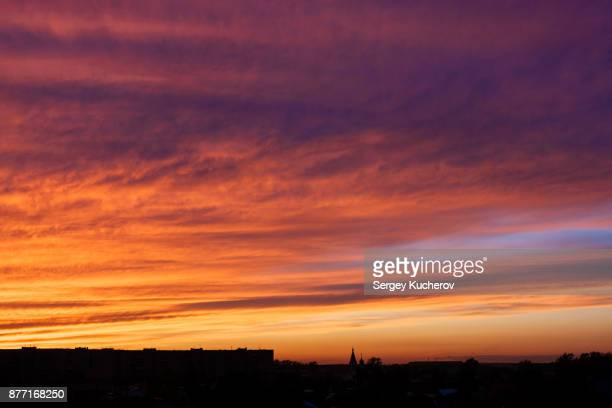 Cloudy sky in sunset light