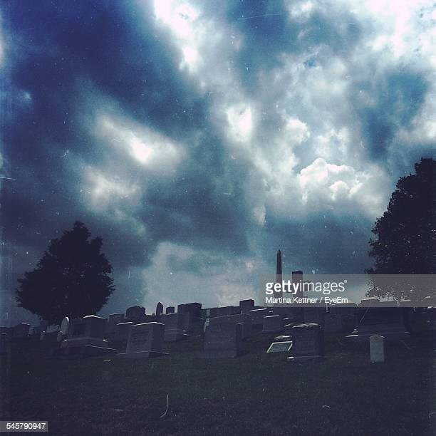 Cloudy Sky Over Cemetery