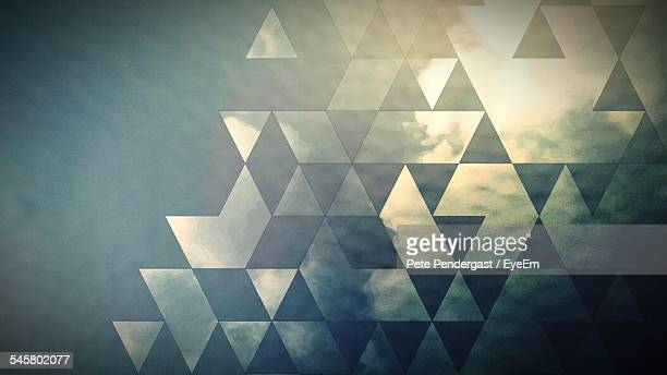 Cloudy Sky Seen Through Patterned Glass Of Window