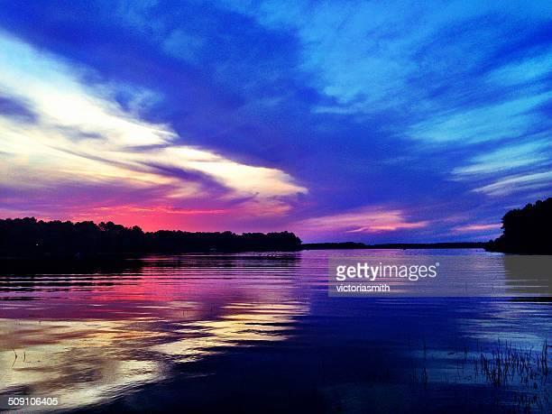 USA, Cloudy sunset on Toledo Bend