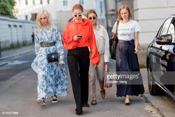 Cloudy Zakrocki Lisa Banholzer Tanja Trutschnig and Sarah Gottschalk during the MercedesBenz Fashion Week Berlin Spring/Summer 2018 at...