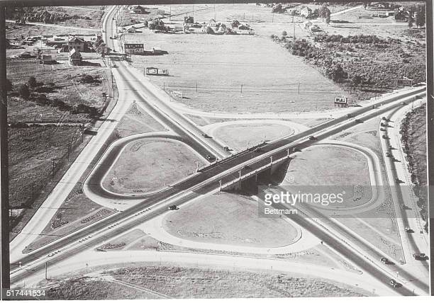 Clover Leaf Intersection Routes 4 and 25 near Woodbridge New Jersey New Jersey State Highway Commission