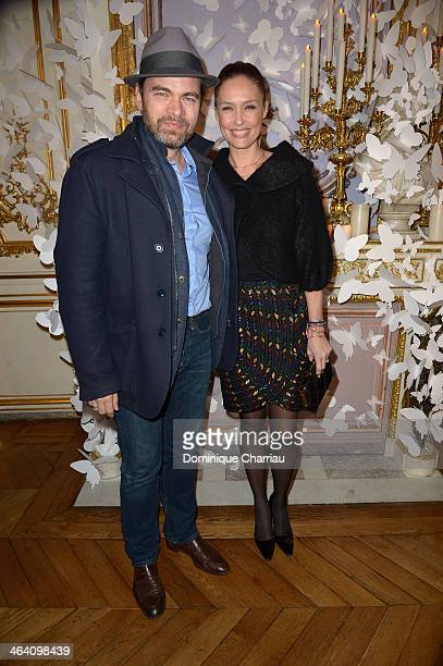 Clovis Cornillac and Lilou Fogli attend the Alexis Mabille show as part of Paris Fashion Week Haute Couture Spring/Summer 2014 on January 20 2014 in...