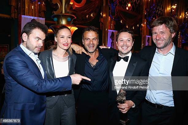 Clovis Cornillac Lilou Fogli Steve Suissa Davy Sardou and Richard Caillat attend the 26th Molieres Awards Ceremony at Folies Bergere on June 2 2014...