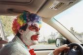 Clown Driving Car