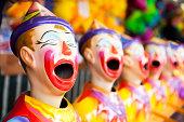 Clown head game at a fair