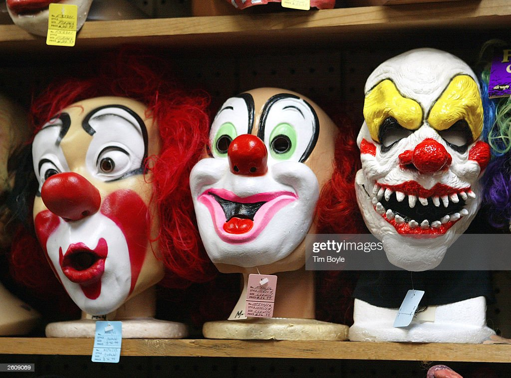 Clown masks are displayed at the Fantasy Costumes HDQ store October 17 2003 in Chicago Illinois Halloween the day normally observed with dressing up...