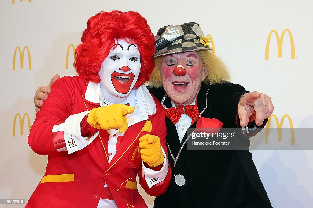 Clown Oleg Popov (R) and Ronald McDonald pose during the new McDonald's Flagship Restaurant re-opening, at Frankfurt International Airport, Terminal 2, on March 30, 2015 in Frankfurt am Main, Germany.