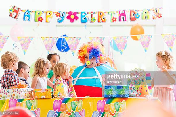 Clown on at child's birthday party.