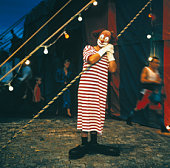 Clown outside Circus Tent
