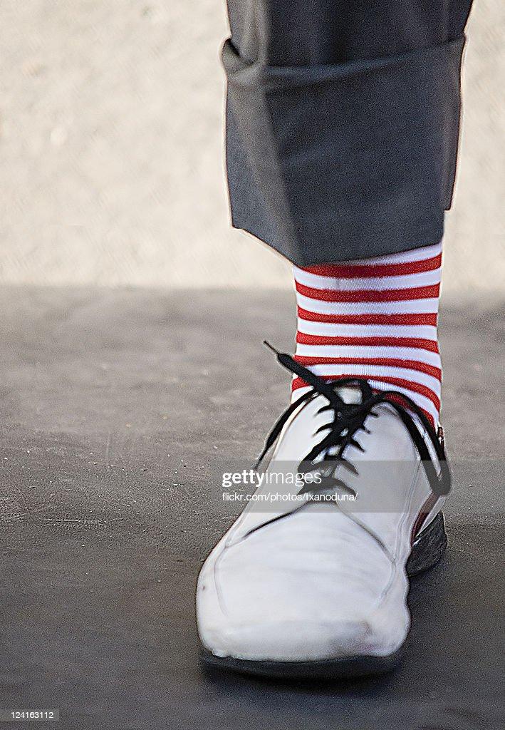 Clown socks leg : Stock Photo